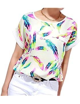 WINWINTOM Las plumas de la gasa de las mujeres suelta de manga corta de la camiseta de la blusa