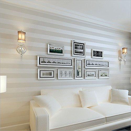 Papel tapiz KeTian para la pared, con diseño de rayas, de estilo europeo, moderno, minimalista, lujoso, no tejido, rollo de 0,53m de ancho x 10 m de largo, cubre 5,3 m² y es ideal para el salón o la habitación, sin tejer, blanco, 0.53m (1.73' W) x 10m(32.8'L)=5.3m2 (57 sq.ft)