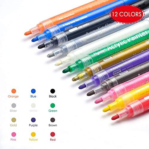ker, Permanent-Marker-Stifte Set Kunst-Marker für Papier, Leinwand, Glas, Metall, Keramik-Geschirr, Rock, Holz, DIY Craft Kids (12 Farben) ()