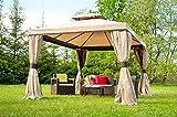 Garden Point Garten-Pavillon Valencia mit Moskitonetz | 300 x 400 cm | Rechteckig | Wasserdicht | Ideal für Garten | Einfache Montage | Vorhänge im Set | Cremig
