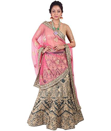 Indian Ethnicwear Bollywood Pakistani Wedding Black A-Line Lehenga Semi-stitched-DIVISL002