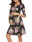 Romanstii Damen Umstandskleid Maternity Schwangerschafts- und Still-Kleid Mit 3/4 Ärmel Lagendesign Wickeln-Schicht (Blume, XS)