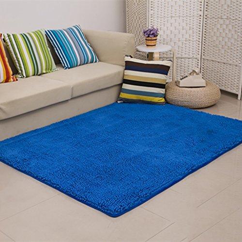 Creative light Tappetini moderni semplici del tovagliolo Tappeti del salone Tappeti anti-scivolo ciniglia di colore solido (dimensioni: 60cm * 200cm) (Colore : Blu)