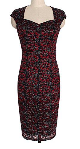 Damen Abendkleider Knielang Mit Schlitz V Ausschnitt Figurbetont Ärmellos Cocktailkleid Partykleider Rot
