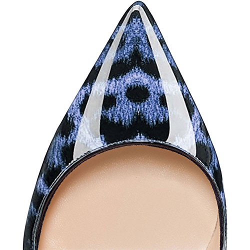 EKS - Scarpe con Tacco Donna Blauer Leopard