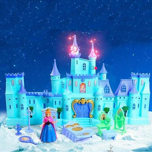 Toyshine Big Size Castle Doll House with Accessories, Musical Dollhouse, Big, Blue