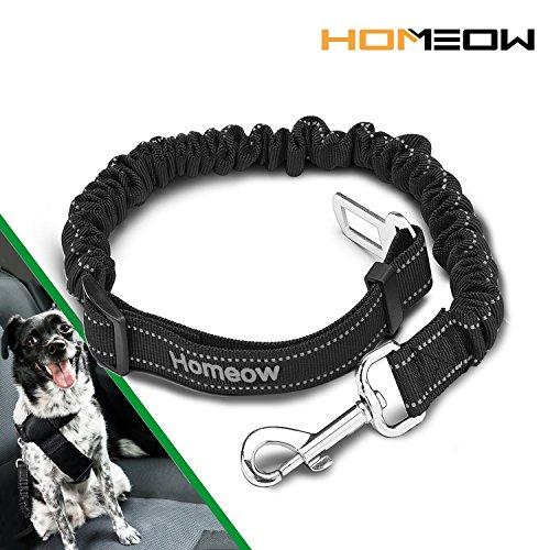 HOMEOW Premium Hunde Sicherheitsgurt Katzen Auto Sicherheitsgeschirre Hunde, Einstellbar Hundegurt mit Elastische Ruckdämpfung für Alle Hunderassen