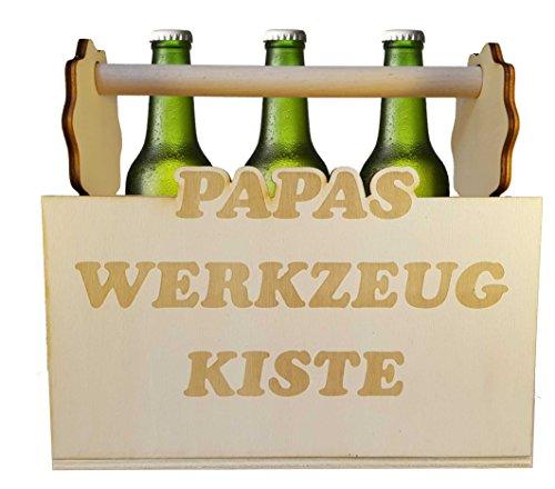 Flaschenträger Holz Bierträger Männerhandtasche Sechser Träger aus Holz mit Schriftzug Papa\'s Werkzeugkiste, Originelle Bierkiste für Vatertag Oder Sonstige Anlässe