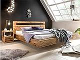 Woodkings Holz Bett 180x200 Marton Doppelbett recycelte Pinie Schlafzimmer Massivholz Design Doppelbett Schwebebett massive Naturmöbel Echtholzmöbel günstig