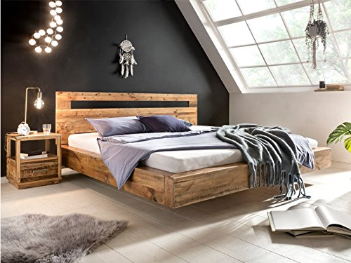 Woodkings® Holz Bett 180x200 Marton Doppelbett recycelte Pinie Schlafzimmer Massivholz Design Doppelbett Schwebebett Massive Naturmöbel Echtholzmöbel günstig