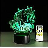 Bateau pirate Veilleuse 3D USB touch switch & Télécommande Acrylic Graver 7 Couleur Gradient Atmosphère Lampe Enfants Amis Cadeau