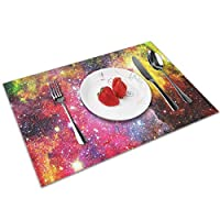QCFW Placemats Place Mats Sets of 4 Table Mats PVC Washable Mat Heat Resistant Mat for Kitchen Garden BBQ Outdoor Colourful Space Nebula