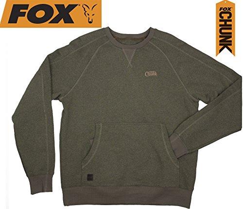 Fox Chunk Crew Pouch Sweatshirt Green Marl Pullover, Angelpullover, Angelbekleidung, Pulli für Angler, Angelpulli Fox Chunk Crew Pouch Sweatshirt Green Marl Pullover