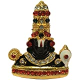 Gold Plated With Multi Colour Stone Finish Lord Venkateswara Statue Hindu God Tirupati Balaji Sculputer Handicraft Idol For Car Dashboard / Puja / Mandir Pooja / Temple / Home Decor / Office Showpiece /Religious Gifts