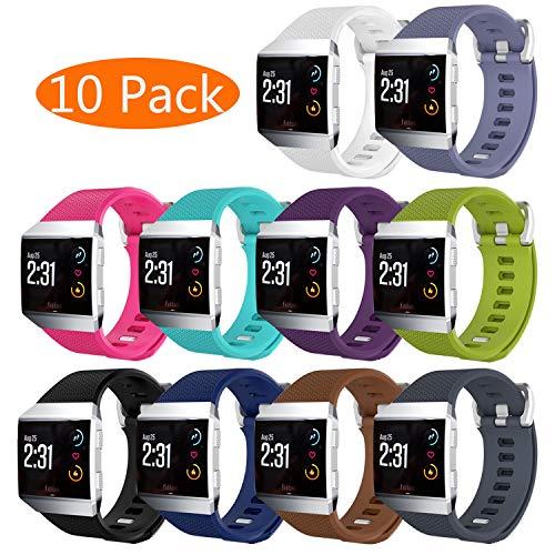 KingAcc Kompatibel Fitbit Ionic Armband, Weiche Silikon Ersatz Armbänder Armband für Fitbit Ionic, Metall Schnalle Fitness Armband Uhrenarmband Frau Männer(10-Pack, 10 Farbe, Groß)