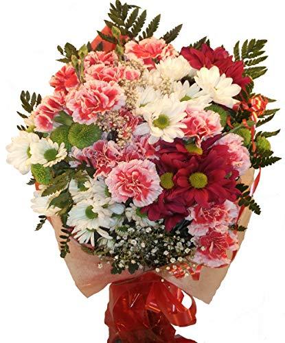 Ramo de flores naturales a domicilio compuesto por margaritas y claveles, son flores de alta calidad.