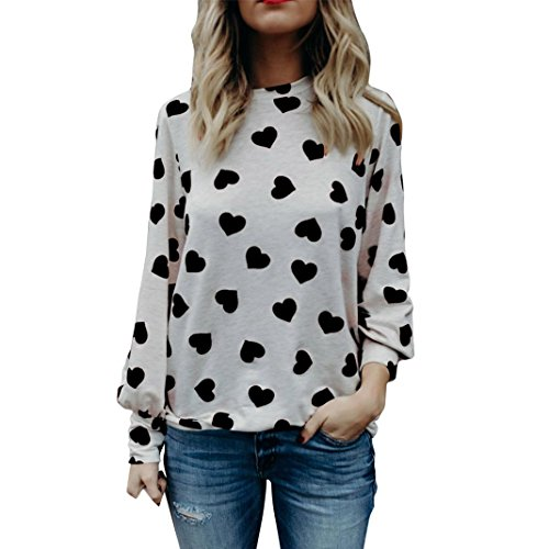 TWIFER Hot Selling Women Ladies Summer Autumn Casual Love Printing Valentine's Day Gift Long Sleeve Crop Jumper Pullover Tops