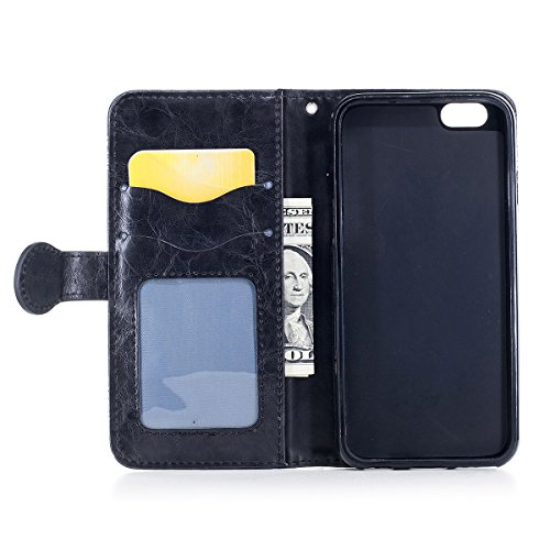 """MOONCASE iPhone 6/iPhone 6s Coque, [Style Rétro] Durable PU Cuir Flip Housse TPU Souple Anti-dérapante Shock Absorption Protection Etui Case pour iPhone 6/iPhone 6s 4.7"""" Or Noir"""
