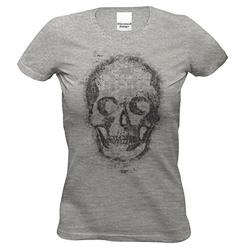 n T-Shirt :-: Halloweenshirt Bikershirt :-: Skull Farbe: dunkelgrau Gr: M (Skull Girl Kostüm)