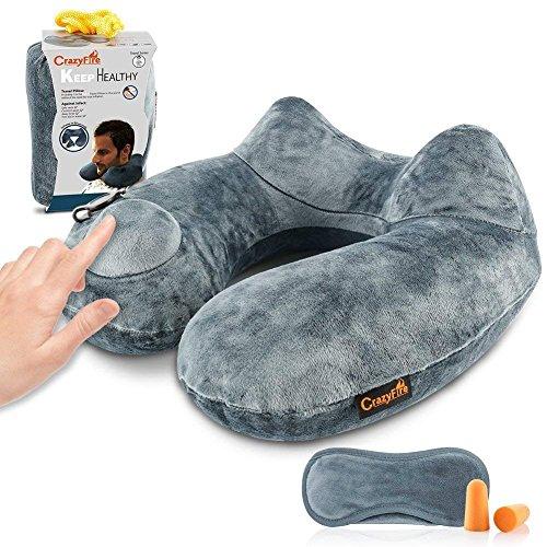 Almohada Inflable para el Cuello,CrazyFire Almohadas de Aire de Viaje, Almohada de Viaje con Bolsa de Transporte,Tapones para Los Oídos,Máscara de Dormir,Extraíble y Lavable para el Avión,Tren