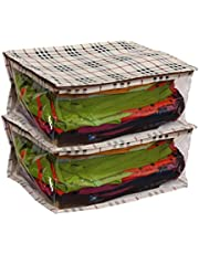 Kanushi Industries Water Resistant Saree Covers with Zip/Saree Bags for Wardrobe/Saree Cover Bags/Saree Storage Bags with Capacity of 10-15 Sarees Set of 2 Pcs