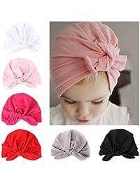 22869cd76e9e COUXILY bébé Turban Coton Bonnet Bowknot Belle Chapeau pour 0-2 Ans  Nourrisson
