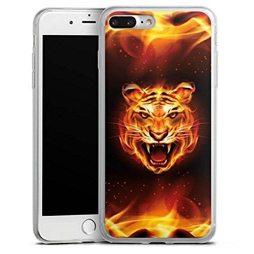 Apple iPhone 8 Plus Slim Case Silikon Hülle Schutzhülle Bengalischer Tiger Raubkatze Feuer Silikon Slim Case transparent