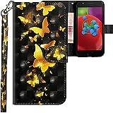 CLM-Tech kompatibel mit Motorola Moto E4 Hülle, Tasche aus Kunstleder, Schmetterlinge Gold schwarz, PU Leder-Tasche für Moto E4 Lederhülle