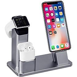TOFURT 4 en 1 Apple Watch Stand support de Chargement écran iPhone station de recharge support Cradle pour iWatch Series 3/2/1/AirPods/iPhone X/8/8 Plus/7/7 Plus/6S/6S Plus/iPad - Gris