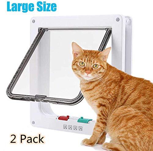 YHHK 2Er-Pack Katzenklappe Mit 4-Wege-Locking, Ruhig Pet Türen Für Katzen, Großkatzentüren Für Innenaußentüren, Einfache Installation Premium-Katzenklappe Tür Für Katzen Kleine Hunde