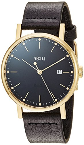 Vestal Men's Sophisticate 36' Swiss Quartz Stainless Steel and Leather Dress Watch, (Model: SP36L02) One Size Black