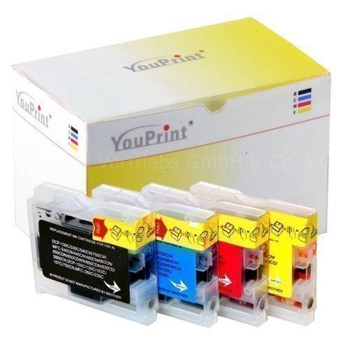 20 YouPrint® Druckerpatronen kompatibel für Brother LC970/LC1000 black, cyan, magenta und yellow - DCP-130C, DCP-135C, DCP-150C, DCP-330C, DCP-350C, DCP-357C, DCP-540CN, DCP-560CN, DCP-750CW, DCP-770CW, Fax 1355, Fax 1360, Fax 1460, Fax 1560, MFC-235C, MFC-240C, MFC-260C, MFC-3360C, MFC-440CN, MFC-5460CN, MFC-5860CN, MFC-660CN, MFC-680CN, MFC-845CW, MFC-885CW