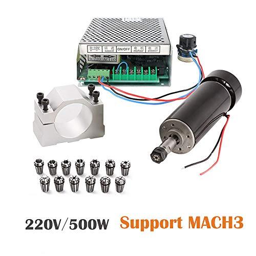 1/2 Motor (500W Luftgekühlten 0.5kw Mini Spindle Motor + 220V MACH3 Geschwindigkeit Power Converter + 52mm Clamp + 13pcs ER11 Collet für CNC Gravieren Maschine)