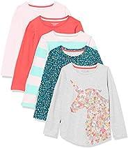 Amazon Essentials Long-Sleeve T-Shirts Fashion-t-Shirts Niñas (Pack de 5)