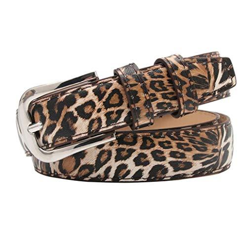 Cinturón De Cuero De Las Mujeres De La Cintura Correa Ocasional Para Los Pantalones Vaqueros Cintura Con Hebilla De La Aleación Con Estampado De Leopardo