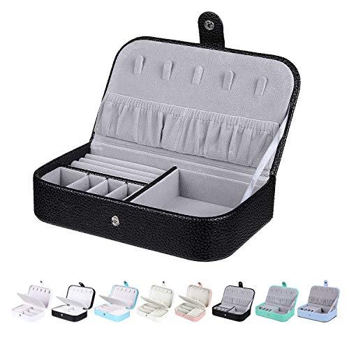 Homaxy Schmuckkästchen Damen Klein Schmuckbox PU-Leder Reisen Schmuck Aufbewahrungsbox Mädchen Schmuckschatulle für Ohrringe Ringe- Schwarz 2(Einlagige)