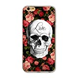 Coque Iphone 6 6S tete mort fleur love liberty skull