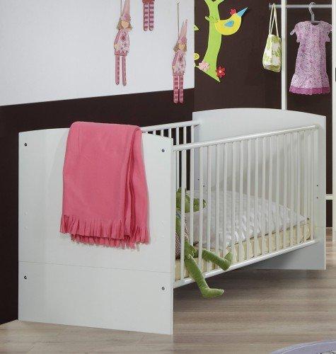 Wimex Babybett 367224 Gina, Weiß, Abs. Hochglanz Brombeer