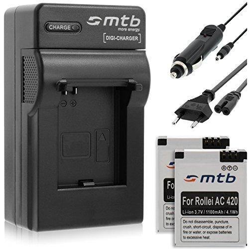 2x Akkus + Ladegerät (KFZ, Netz) für Rollei Actioncam AC 420