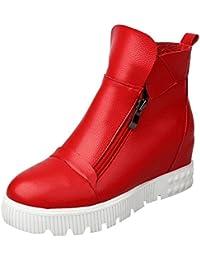 8138e409595871 UH Damen Keilabsatz Stiefeletten Plateau Ankle Boots mit Fell und  Reißverschluss Freizeit Warm Schuhe
