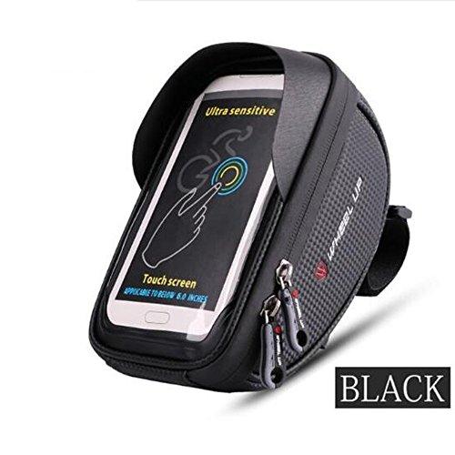 LYX Fahrradtasche, Fahrrad MTB Frontstrahler Wasserdicht 6,0 Zoll Touchscreen Handytasche, Reitsack,Black