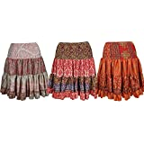 Mogul Interior Womens Gypsy Tiered Short Skirt Naomi Recycled Silk Tiered Knee Length Skirts Wholesale Set Of 3