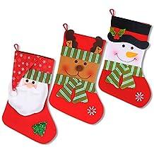 iZoeL 3 calcetín de Navidad decoración nikolausstrumpf Botas de Navidad para Rellenar y Colgar con diseño