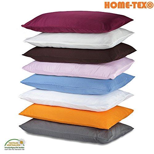 Home-Tex© 2-er Set Kissenhülle Mikrofaser | Doppelpack Kissenbezüge ca. 95 g/m² | ÖKO-TEX STANDARD Kissen-Bezug mit Reißverschluss (40 x 80 cm, Pink)
