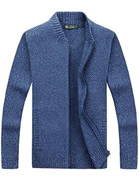 MEI&S Estación de Casual de Hombres Collar Zip Cardigan suéter chaqueta tejida untar