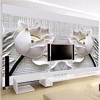 Lqwx Foto Papel Tapiz Para Paredes 3 D Art Tela De Seda Papel 3D Tv Contratado Sentado Loto Blanco Flores Grandes De Papel Mural 400Cmx280Cm