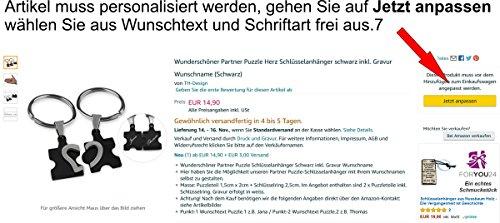 Wunderschöner Partner Puzzle Herz Schlüsselanhänger schwarz inkl. Gravur Wunschname (Schwarz)