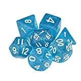 Bobopai Resin Polyhedral D4-D20 Multi Sided Acrylic Dice for TRPG Dungeons & Dragons Table Game 7Pcs/Set (Blue#)