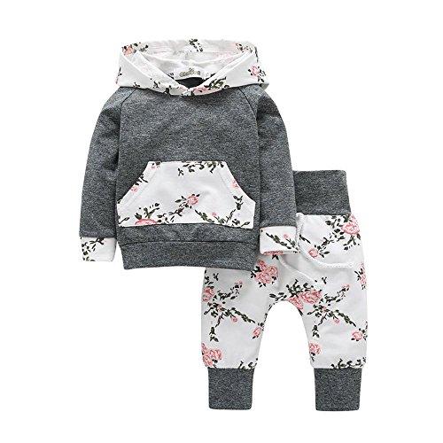 Babykleidung, Sunday Strampler Neugeborene Kleidung Baby Jungen Mädchen Kürbis T-Shirt Teufel Lange Hülse Tops + Hosen Stilvoll O-Ausschnitt Valentinstag Outfits Set (Grau, 18-24 M)