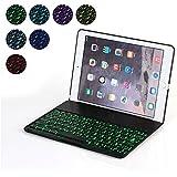 iPad Air 2 Teclado, Cubierta Para iPad Air 2 Teclado Bluetooth Cubierta de La Caja Protectora De Aluminio Folio Colorido de Luz Retroiluminada - QWERTY - US